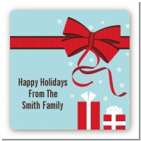 All Wrapped Up Gifts - Square Personalized Christmas Sticker Labels