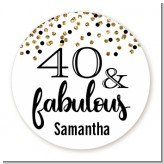 40 & Fabulous Glitter - Round Personalized Birthday Party Sticker Labels