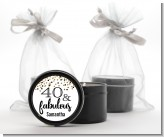 40 and Fabulous Glitter - Birthday Party Black Candle Tin Favors