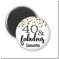 40 and Fabulous Glitter - Personalized Birthday Party Magnet Favors