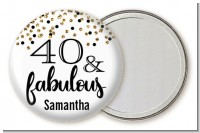 40 and Fabulous Glitter - Personalized Birthday Party Pocket Mirror Favors