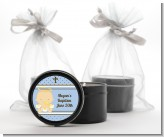 Angel Baby Boy Caucasian - Baptism / Christening Black Candle Tin Favors