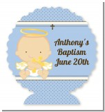 Angel Baby Boy Caucasian - Personalized Baptism / Christening Centerpiece Stand