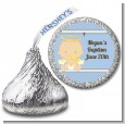 Angel Baby Boy Caucasian - Hershey Kiss Baptism / Christening Sticker Labels thumbnail