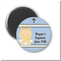 Angel Baby Boy Caucasian - Personalized Baptism / Christening Magnet Favors