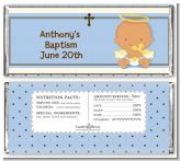 Angel Baby Boy Hispanic - Personalized Baptism / Christening Candy Bar Wrappers