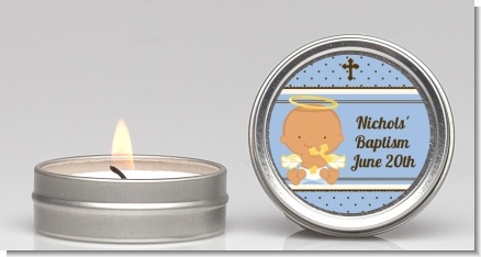 Angel Baby Boy Hispanic - Baptism / Christening Candle Favors