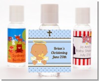 Angel Baby Boy Hispanic - Personalized Baptism / Christening Hand Sanitizers Favors