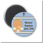 Angel Baby Boy Hispanic - Personalized Baptism / Christening Magnet Favors