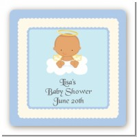 Angel in the Cloud Boy Hispanic - Square Personalized Baby Shower Sticker Labels