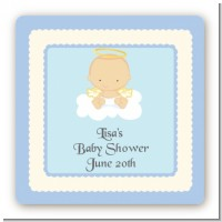 Angel in the Cloud Boy - Square Personalized Baby Shower Sticker Labels