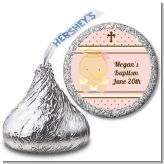 Angel Baby Girl Caucasian - Hershey Kiss Baptism / Christening Sticker Labels