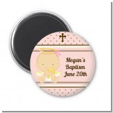 Angel Baby Girl Caucasian - Personalized Baptism / Christening Magnet Favors
