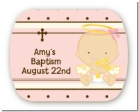 Angel Baby Girl Caucasian - Personalized Baptism / Christening Rounded Corner Stickers