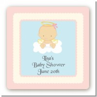 Angel in the Cloud Girl - Square Personalized Baby Shower Sticker Labels