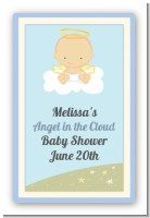 Angel in the Cloud Boy - Custom Large Rectangle Baby Shower Sticker/Labels