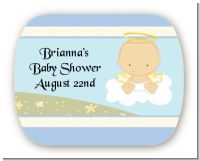 Angel in the Cloud Boy - Personalized Baby Shower Rounded Corner Stickers