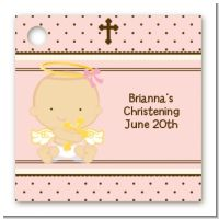 Angel Baby Girl Caucasian - Personalized Baptism / Christening Card Stock Favor Tags