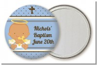 Angel Baby Boy Hispanic - Personalized Baptism / Christening Pocket Mirror Favors