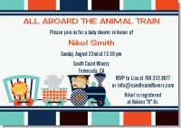 Animal Train - Baby Shower Invitations