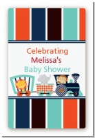 Animal Train - Custom Large Rectangle Baby Shower Sticker/Labels
