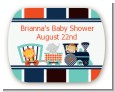 Animal Train - Personalized Baby Shower Rounded Corner Stickers thumbnail