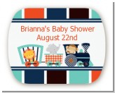 Animal Train - Personalized Baby Shower Rounded Corner Stickers
