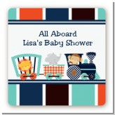 Animal Train - Square Personalized Baby Shower Sticker Labels