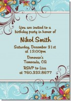 Aqua & Brown Floral - Birthday Party Invitations