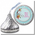 Aqua & Brown Floral - Hershey Kiss Birthday Party Sticker Labels thumbnail