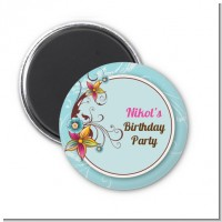 Aqua & Brown Floral - Personalized Birthday Party Magnet Favors