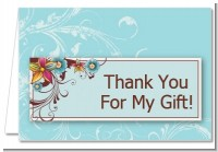 Aqua & Brown Floral - Birthday Party Thank You Cards