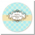 Aqua & Yellow - Round Personalized Graduation Party Sticker Labels thumbnail