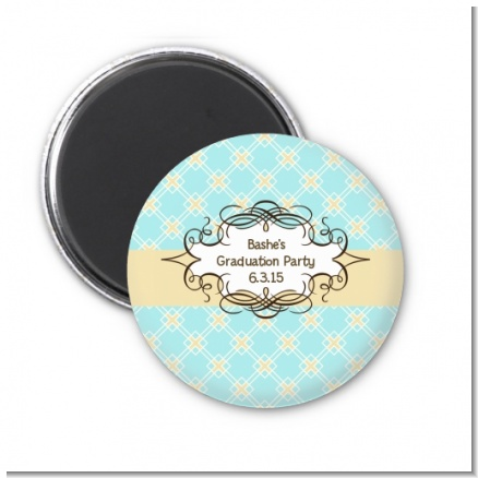 Aqua & Yellow - Personalized Graduation Party Magnet Favors
