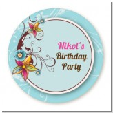 Aqua & Brown Floral - Round Personalized Birthday Party Sticker Labels