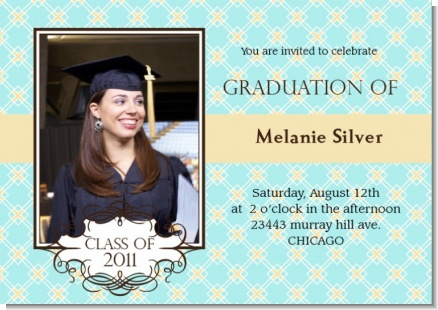 Aqua & Yellow - Graduation Party Invitations