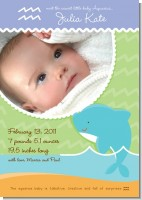 Dolphin | Aquarius Horoscope - Birth Announcement Photo Card