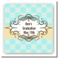 Aqua & Yellow - Square Personalized Graduation Party Sticker Labels thumbnail