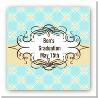 Aqua & Yellow - Square Personalized Graduation Party Sticker Labels