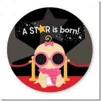 A Star Is Born Baby - Round Personalized Baby Shower Sticker Labels