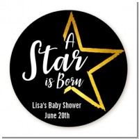 A Star Is Born - Round Personalized Baby Shower Sticker Labels