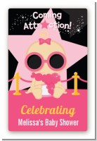 A Star Is Born Hollywood Black|Pink - Custom Large Rectangle Baby Shower Sticker/Labels