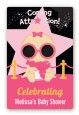 A Star Is Born Hollywood Black|Pink - Custom Large Rectangle Baby Shower Sticker/Labels thumbnail