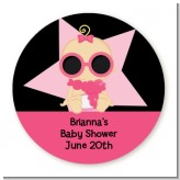 A Star Is Born Hollywood Black|Pink - Round Personalized Baby Shower Sticker Labels