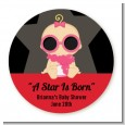 A Star Is Born Hollywood - Round Personalized Baby Shower Sticker Labels thumbnail