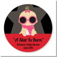 A Star Is Born Hollywood - Round Personalized Baby Shower Sticker Labels