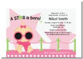 A Star Is Born Hollywood White|Pink - Baby Shower Petite Invitations