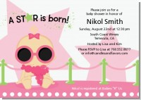 A Star Is Born Hollywood White|Pink - Baby Shower Invitations
