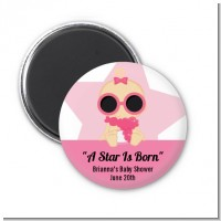 A Star Is Born Hollywood White|Pink - Personalized Baby Shower Magnet Favors