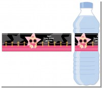 A Star Is Born Hollywood Black|Pink - Personalized Baby Shower Water Bottle Labels